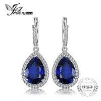 JewelryPalace 12.4ct לחתוך אגס יוקרה אבני ספיר הכחול נוצר להתנדנד עגילי מתנת נשים אופנה תכשיטי כסף סטרלינג 925 מוצק