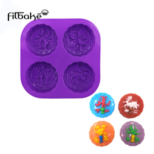 FILBAKE 4-hole round 4 shape flower soap mold cake decorating tools moldes de silicona brand new and high quanlity baking moulds