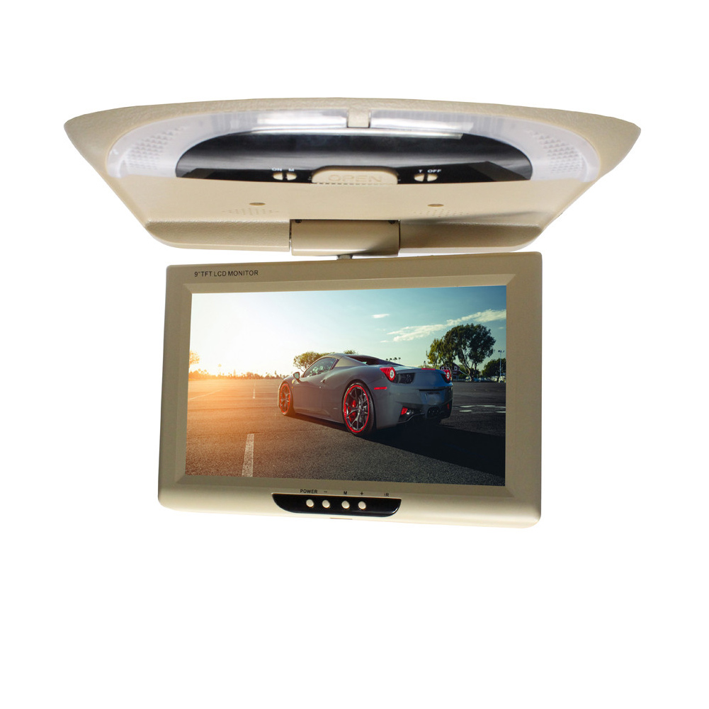 9 Inch Display Multimedia With Remote Controller LCD Color CD Player Dome Lights DVD Roof Mount Car Monitor Flip Down ABS Video(China)