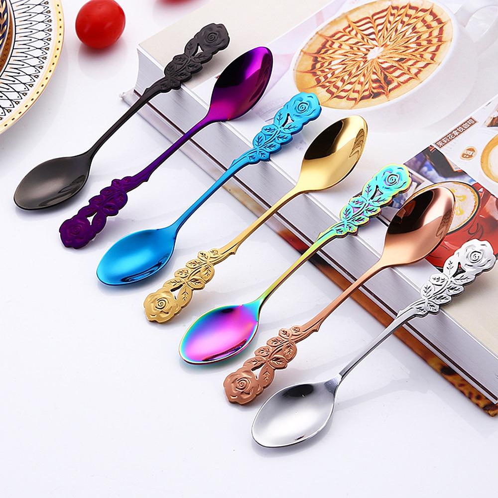 New 304 Stainless Steel Rose Coffee Spoon Stirring Spoon Teaspoon Long Handle Tea Spoon Dessert Spoon Kitchen Tableware Dropship