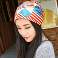 1 Pcs 2015 New Hot Stripe Women Beanies Spring Summer Two Use Skullies Knitted Cap Empty hat 4 Colors Wholesale And Retail