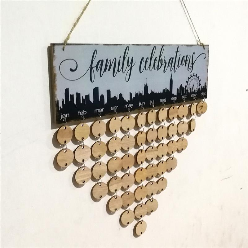 Family Celebrations Hanging Plaque Board Wooden DIY Calendar