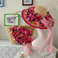 Lafite weaving Beach Bag women straw bag and Flower Sun Hat rose Large capacity handmade flowers handbag with bow Ribbon