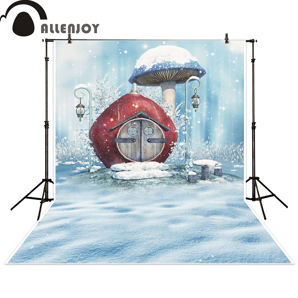 Allenjoy photo backdrops winter cartoon snow house baby shower background photocall photographic photo studio photobooth