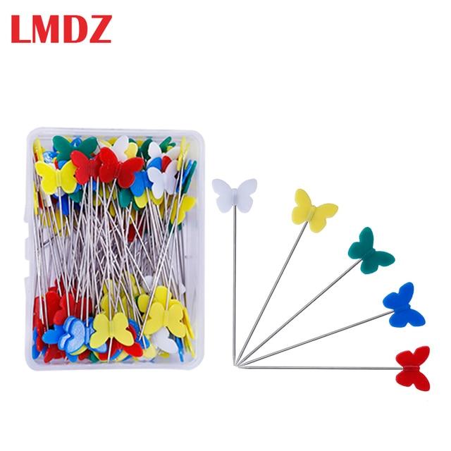 LMDZ 100 uds, alfileres acolchados, alfileres del remiendo, alfileres planos de mariposa, alfileres de costura con colores mezclados, herramienta de costura, aguja