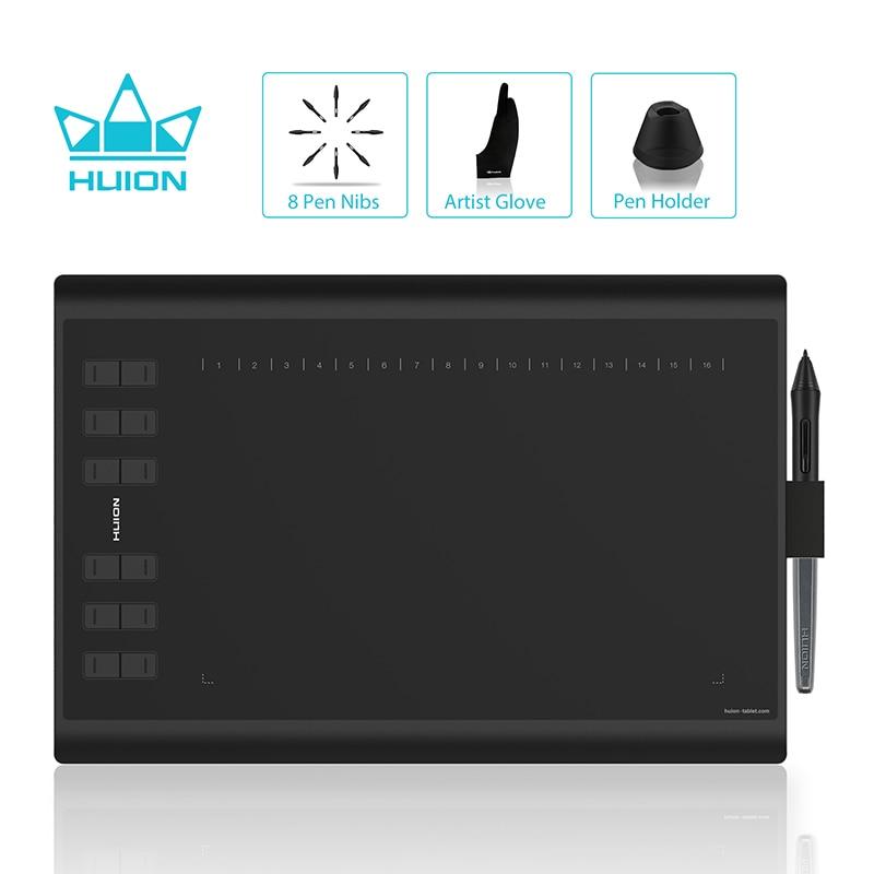 HUION H1060P dibujo gráfico Tablet batería-libre Stylus tableta Digital con 8192 pluma presión 12 teclas Express y dibujo guante