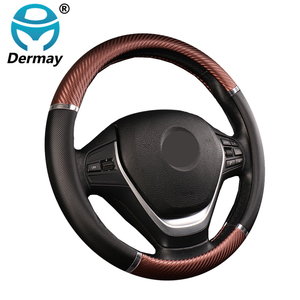 Image 1 - DERMAY Universal Car Steering Wheel Cover Artificial Leather 5 Colors Comfortable Non slip Automobile Steering Wheel Car Styling
