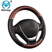 DERMAY protector Universal para volante de coche de cuero Artificial, 5 colores, antideslizante, cómodo, estilo de coche de ruedas