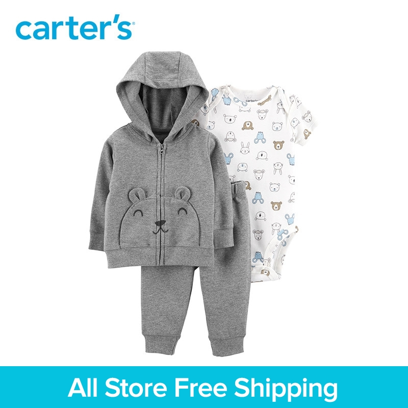 3pcs soft cotton bear print bear pockets jacket set Carter's baby boy spring autumn clothing 121I886 худи print bar bear totoro