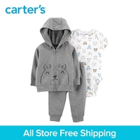 3pcs soft cotton bear print bear pockets jacket set Carter's baby boy spring autumn clothing 121I886