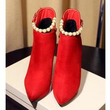 Осенняя пикантная Свадебная обувь с острым носком; женские короткие