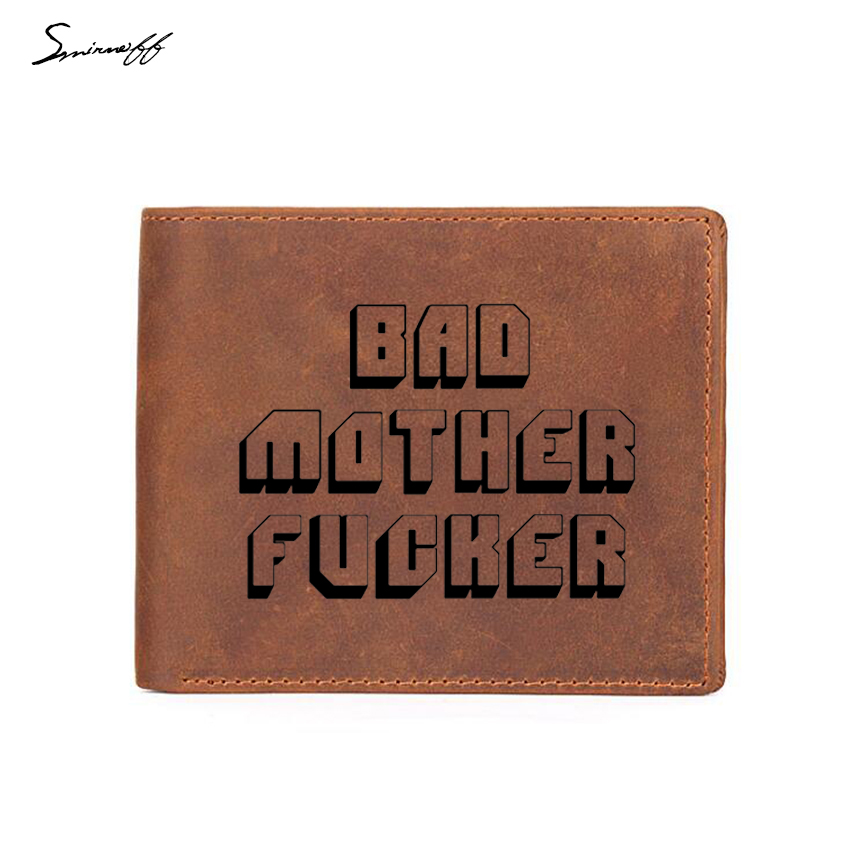 Smirnoff Engraved Bad Mother Letters Wallet Men Leather Short Purses Luxury Male Credit  ...