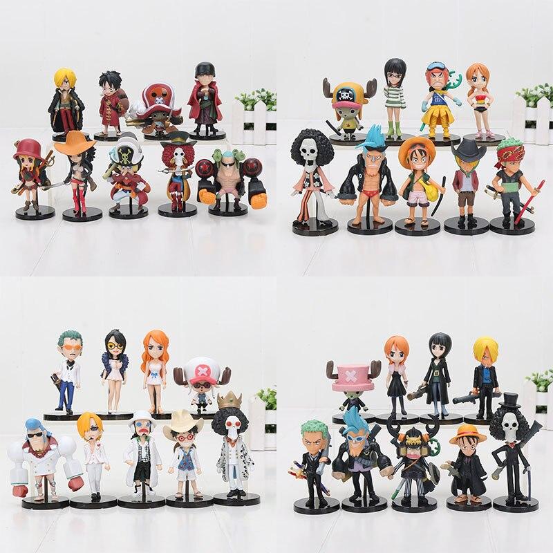 One Piece Monkey D Luffy Usopp Roronoa Zoro Nami: 4sets Anime One Piece Action Figures 9pcs/set Monkey D