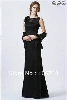 2018 ograniczone w czasie naturalny satynowy darmowa wysyłka elegancki Brides Vestidos ręcznie zrobiony kwiatek Formales długie czarne suknie druhna