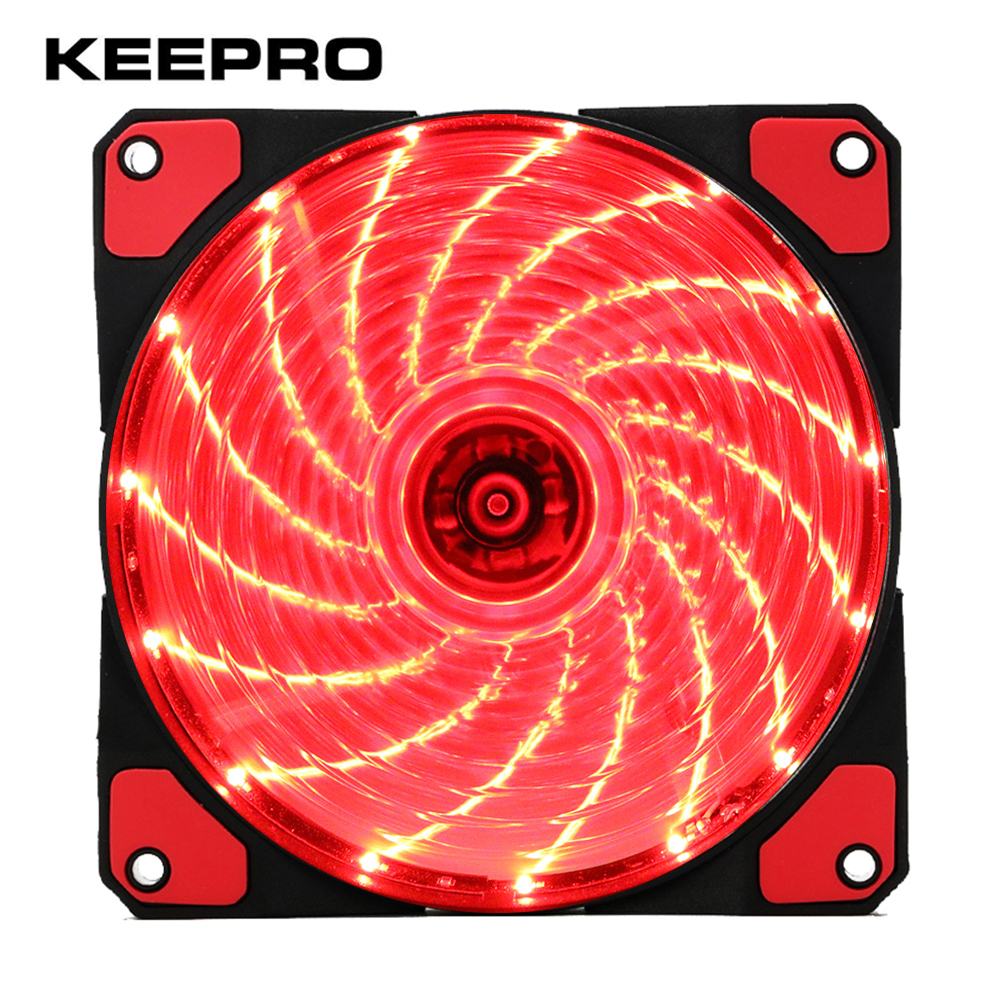 KEEPRO Original 15 Lights LED Silent Fan PC Computer Chassis Fan Case Heatsink Cooler Cooling Fan DC 12V 4P 3P 120*120*25mm for delta 12cm 1225 12025 120 120 25mm fan ball bearing fan dc12v computer case fan