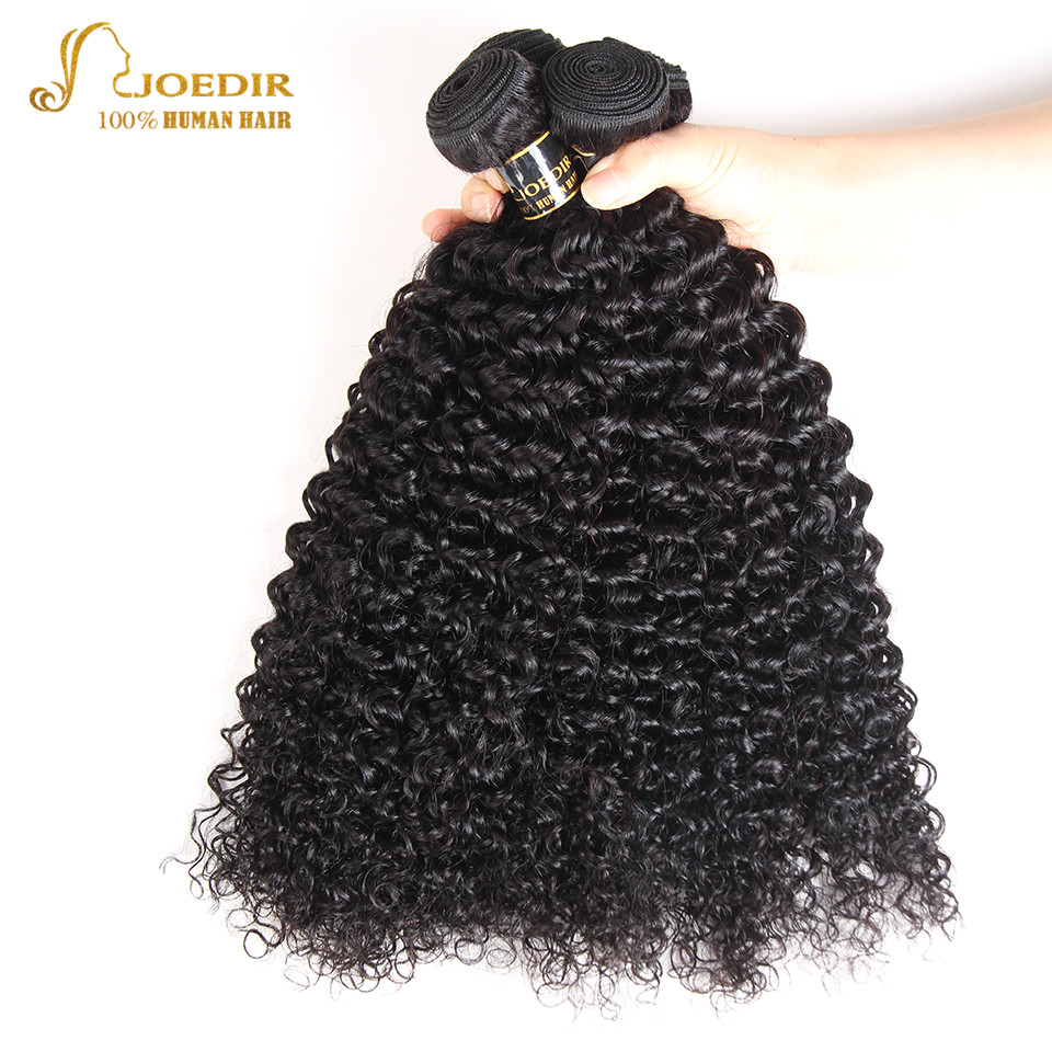Joedir Pre Colored Mongolian Hair Weave Bundles 4 Bundles Deal Mongolian Afro Kinky Curly Hair Bundles Non Remy Free Shipping