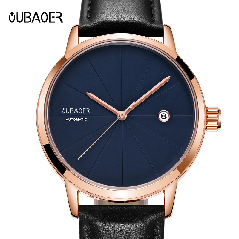 цена на Lurury Men watches OUBAOER automatic mechanical watch Men leather clock casual business top brand sports watch relogio masculino