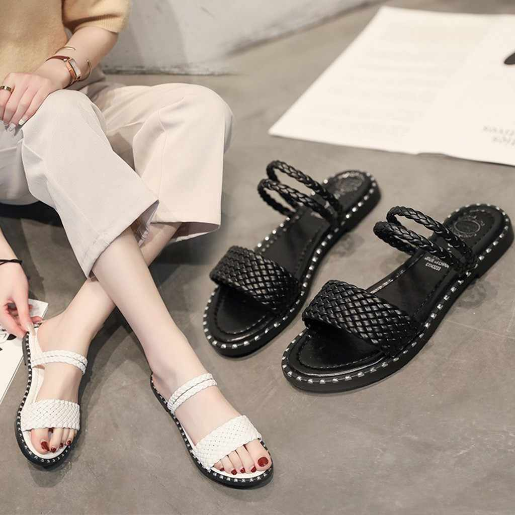 Black And White Hemp Roap Sandals Women Weaving Flat Bottom Summer Holiday Open Toe Fashion Leisure Beach Solid Colors Shoes