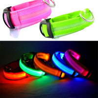 Wholesale 100pcs Lot Nylon Pet LED Dog Collar Flash Glowing Cat Dog Collars LED Dog Accessories