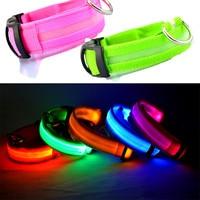 Wholesale 100pcs Lot Nylon Pet LED Dog Collar Flash Glowing Cat Dog Collars LED Dog Accessories