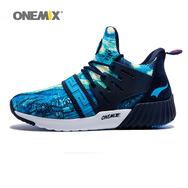 ONEMIX 2018 Men Running Boots Women High Top Sports Outdoor Shoes Navy Blue Trends Athletic Trainers Impression Walking Sneakers onemix 2018 woman running shoes women nice trends athletic trainers zapatillas sports shoe max cushion outdoor walking sneakers