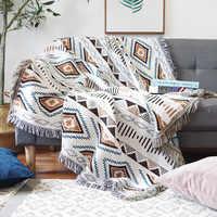 Geometria europeia energia lance cobertor sofá decorativo slipcover cobertor no sofá/avião de viagem xadrez antiderrapante costura cobertores