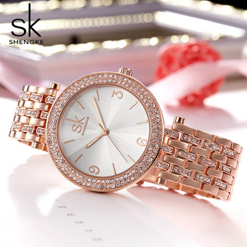 Shengke Women Watces Luxury Relogio Feminino RoseGold Dial Fashion Montre Femme Ladies Watches Ladies Women Wristwatches 2017SK