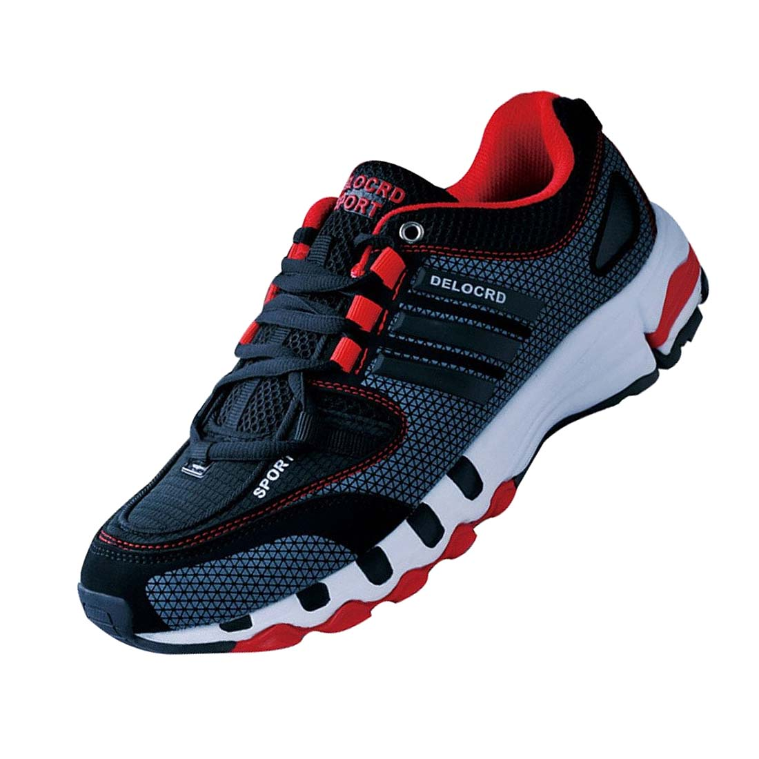 DELOCRD Mens Retro sports shoes Wearable running shoes Black+Red