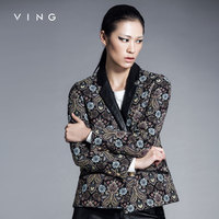 Ving New Arrival Women Jacket Vintage Blazer Leather Patchwork Lapel Collar Floral Pattern One Button Slim