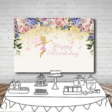 Pink Purple Flowers Photography Backdrop Custom Text Fairy Butterfly Girls Birthday Party Dessert table Background Photo Studio