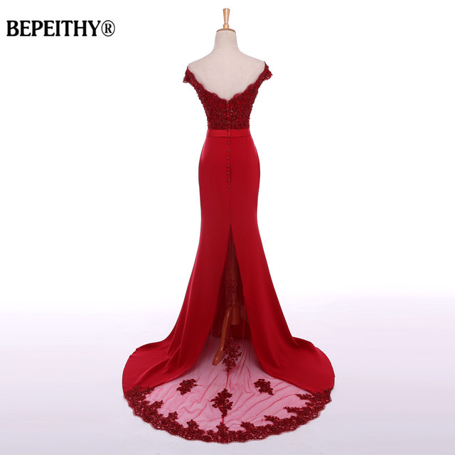 BEPEITHY Sexy Off The Shoulder Long Evening Dress Party Elegant 2019 100% Handmade Beadings Mermaid Prom Gowns Fast Shipping 1