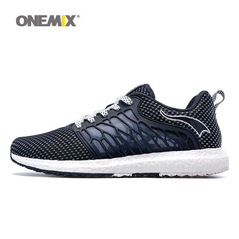 ONEMIX New Man Running Shoes For Men Breathable Athletic Trainers Navy Zapatillas Sports Shoe Outdoor Walking Sneakers Free Ship peak sport men outdoor bas basketball shoes medium cut breathable comfortable revolve tech sneakers athletic training boots