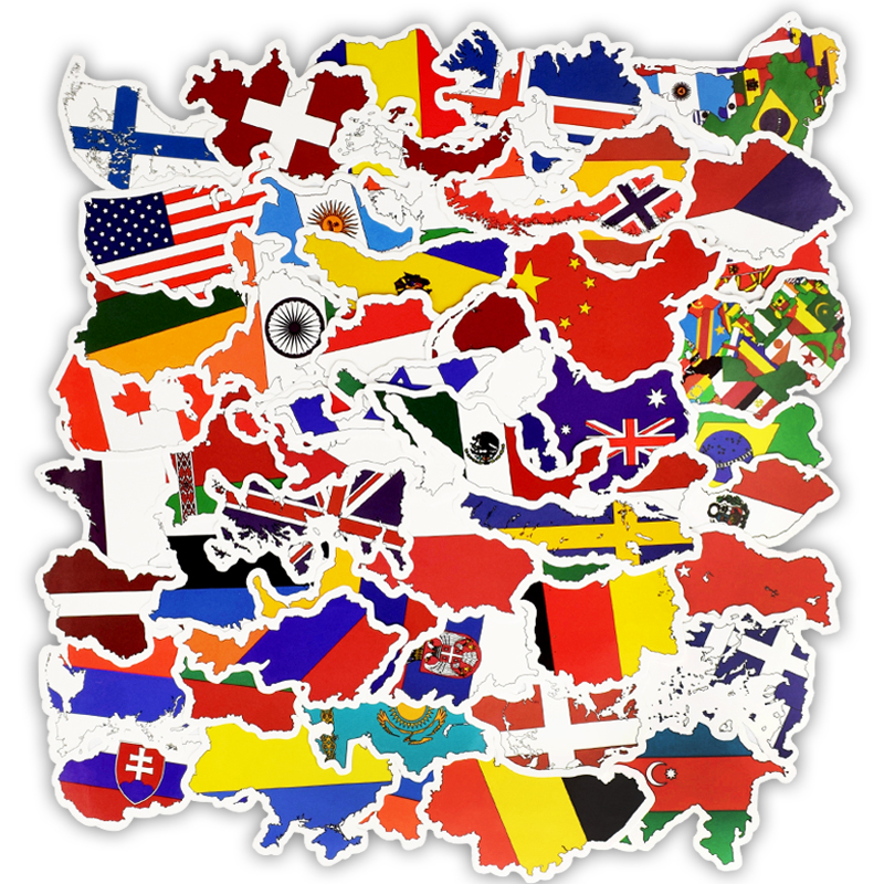 50pcs National Flags Stickers Toys For Children Countries Map Travel Sticker DIY Scrapbooking Suitcase Laptop Car Motorcycle F5