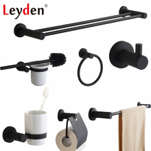 Leyden Black Stainless Steel Toilet Paper Holder Clothes Hook Towel Ring Brush Wall Mount Bathroom Accessories Set