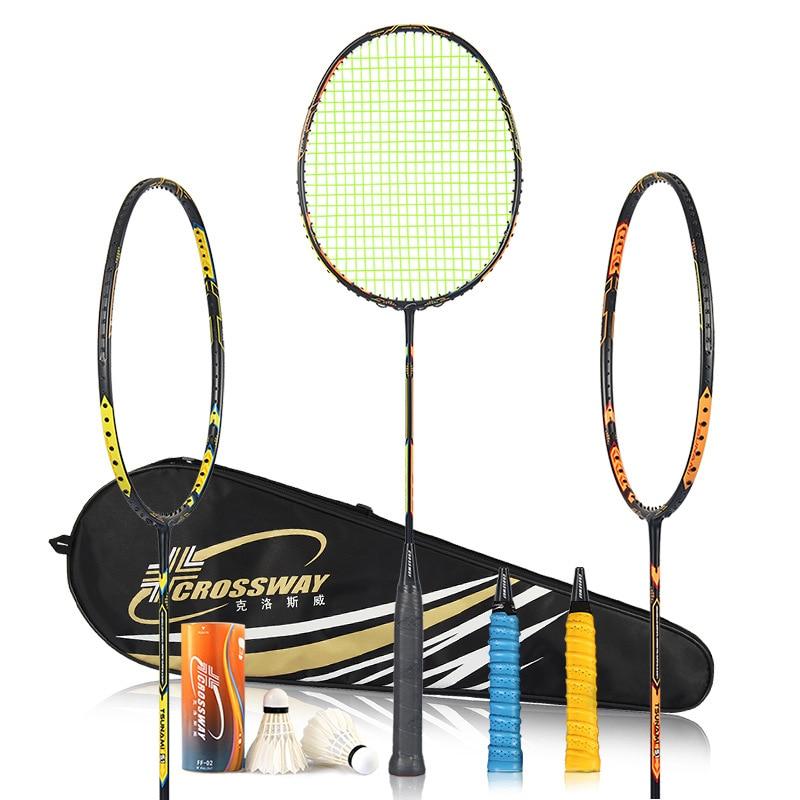 CROSSWAY 2PCS badminton racket professional badminton racket carbono badminton racquet with overgrip fitness outdoor trainingT51