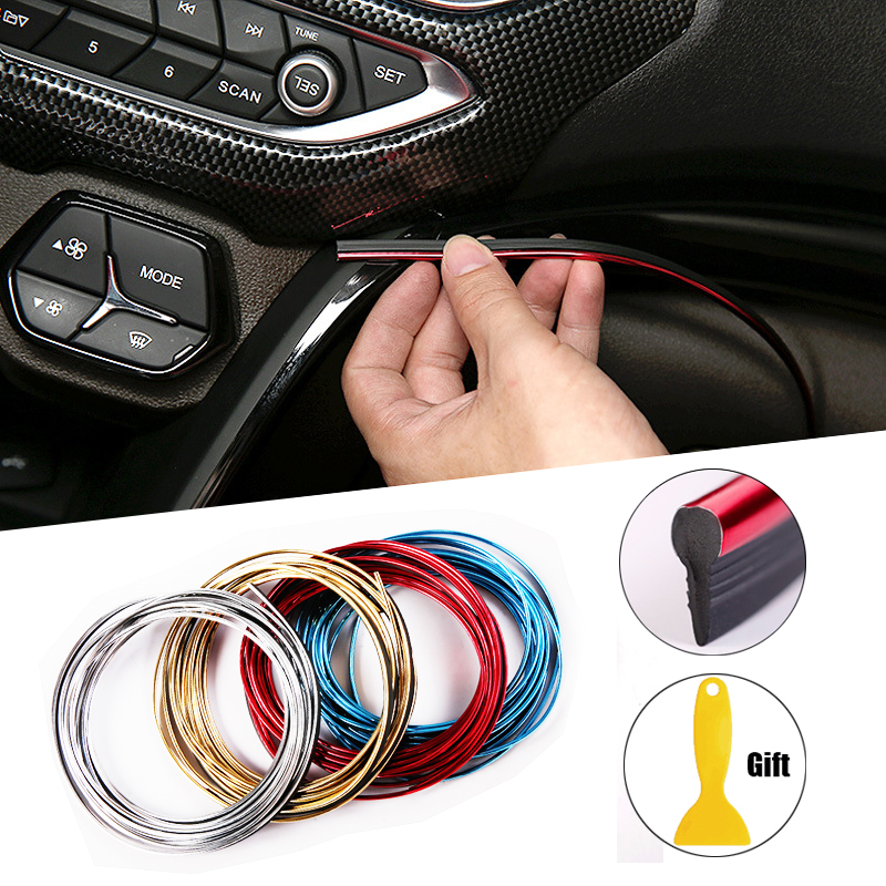 5M Car Styling Interior Decoration Strips Moulding Trim Dashboard Door Edge Universal