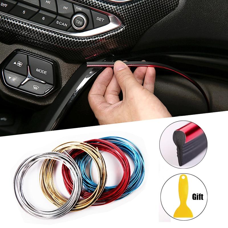 Blueccl Color Decorative Line Strip 5M Flexible Trim for DIY Automobile Car Interior Moulding Trim red