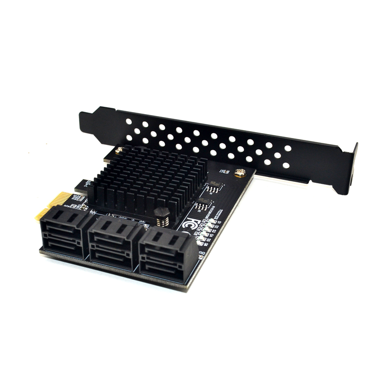 Marvell 88SE9215 chip 6 ports SATA 3.0 <font><b>to</b></font> <font><b>PCIe</b></font> expansion Card <font><b>PCI</b></font> express SATA <font><b>Adapter</b></font> SATA 3 Converter with Heat Sink for HDD image