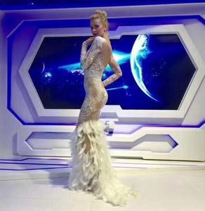 Image 5 - Sparkly Rhinestones Feather Nude Dress Sexy Nightclub Full Stones Long Big Tail Dress Costume Prom Birthday Celebrate Dresses