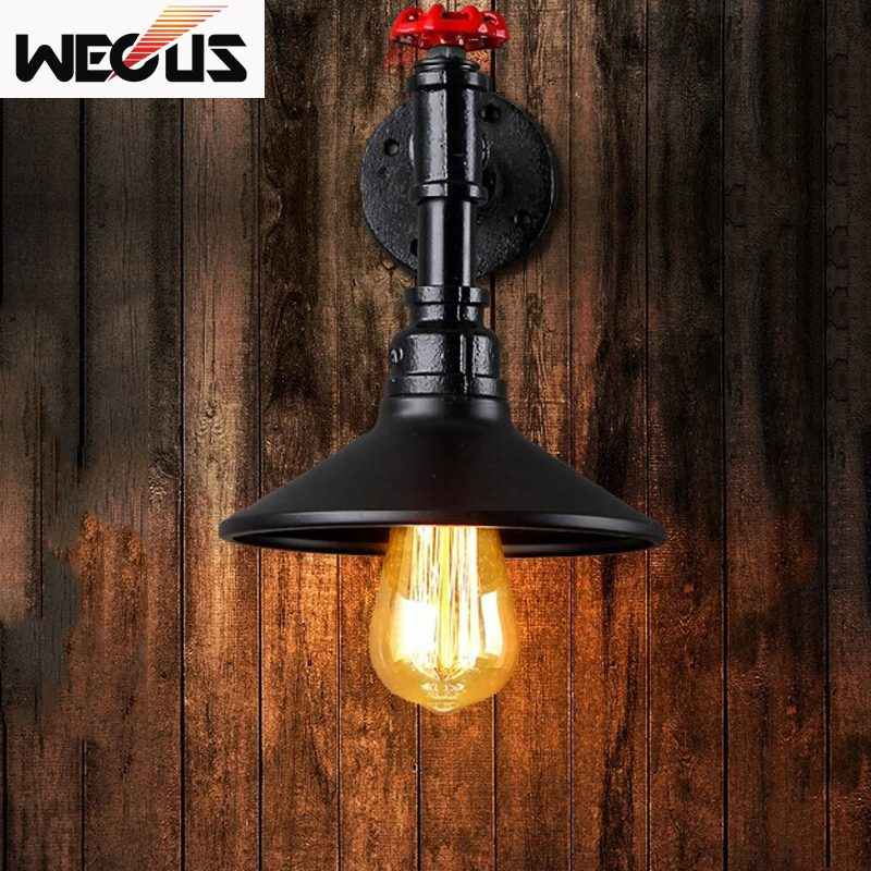 Loft vintage wall lamp sconce restaurant cafe corridor pub bar lamp Iron imitated water pipe lighting,retro lamp wall light bra