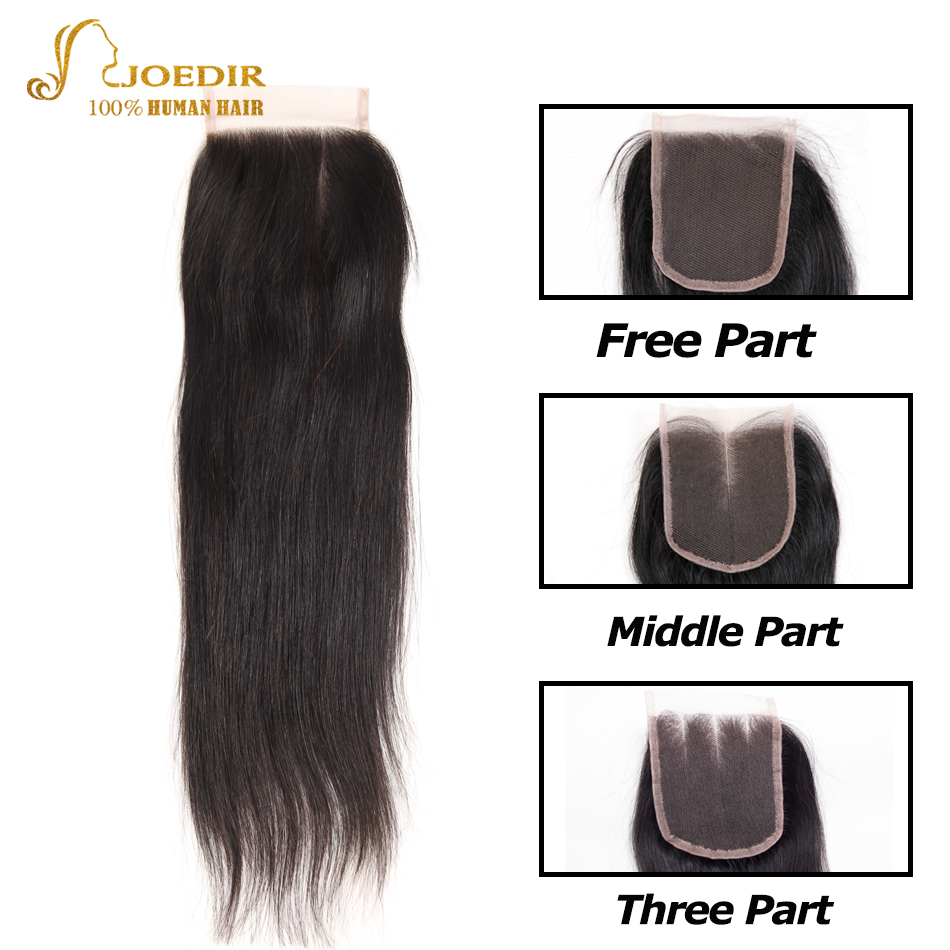 Joedir Malaysian Straight Hair Weave 4x 4 Lace Closure 130% Density Swiss Lace Closure Top Closure Free Ship
