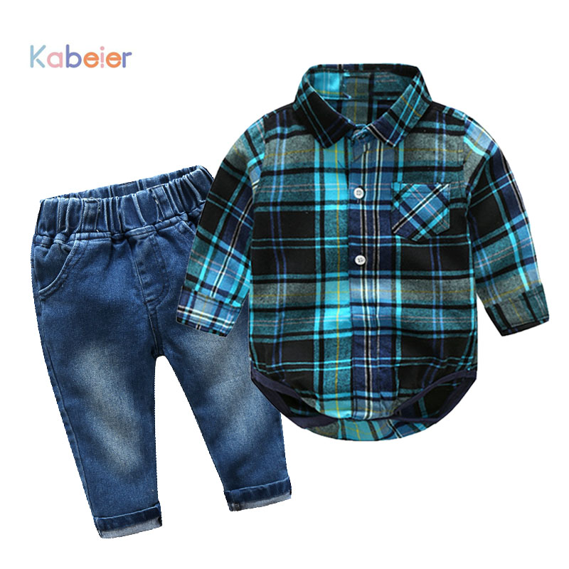 Newborn Baby Boy Clothes Sets Cotton Gentleman 2018 New Spring Fashion Plaid Rompers + Jeans 2Pcs/set Clothing 0-24M