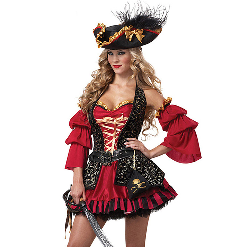 Gold/Red <font><b>Sexy</b></font> Caribbean Pirate Costume Women Plus Size Cosplay Costumes Carnival <font><b>Halloween</b></font> Fancy Dress Outfit <font><b>Disfraces</b></font> Adultos image