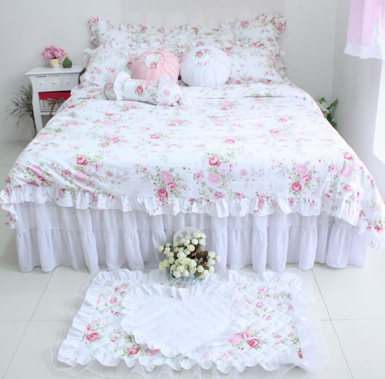 White pastoral floral lace Korean princess bedding set 3/4pcs for girls twin full queen size ruffle bed skirt   free shippingWhite pastoral floral lace Korean princess bedding set 3/4pcs for girls twin full queen size ruffle bed skirt   free shipping