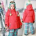 Meninas Terno De Esqui do Inverno russo Meninas À Prova de Vento Ao Ar Livre Jaquetas De Esqui + Calças Jardineiras 2 pcs Roupa Das Crianças Conjuntos para 2-16Y