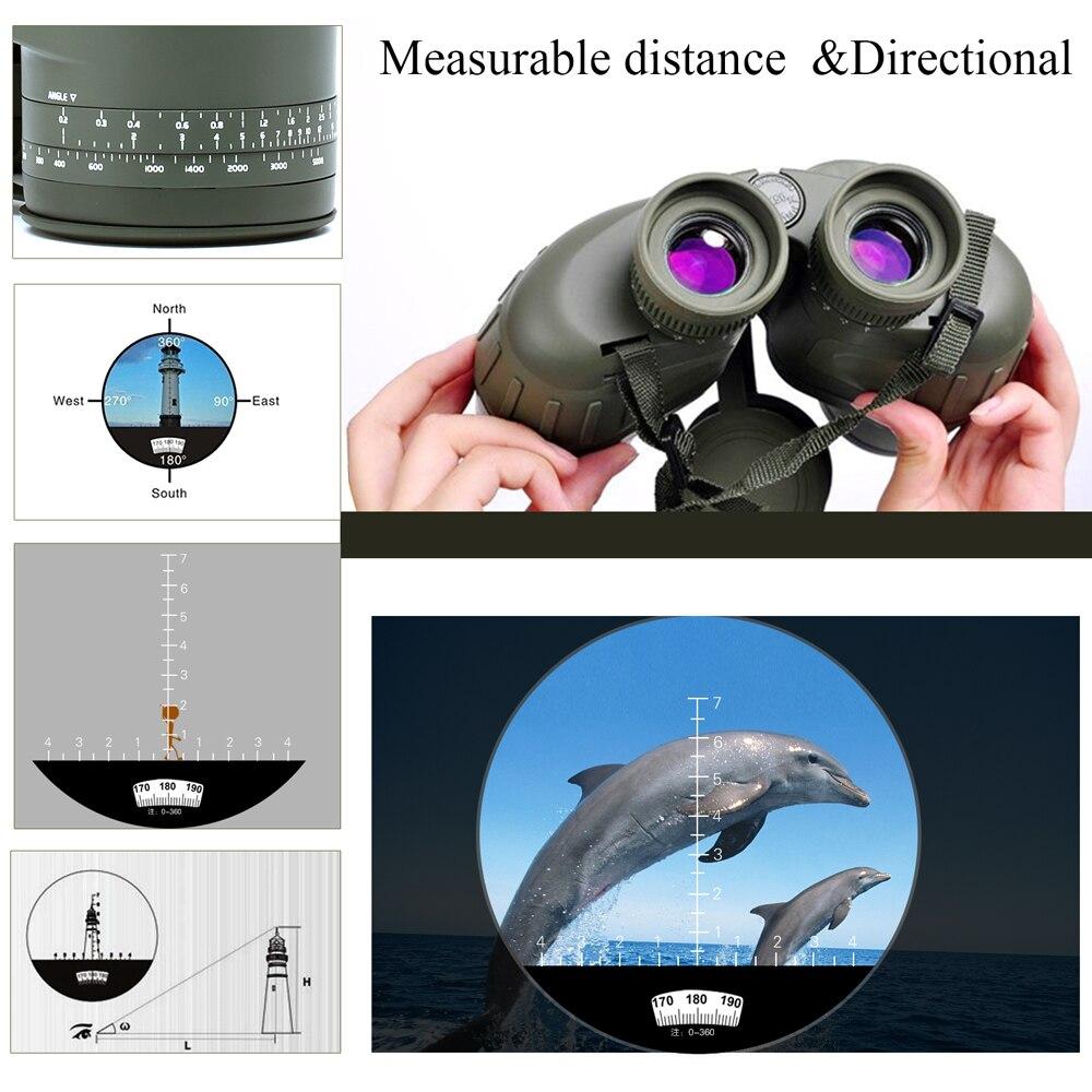 Military 10x50 HD Marine Binoculars Zoom Rangefinder Compass Telescope Eyepiece Waterproof Nitrogen Army Green USCAMEL