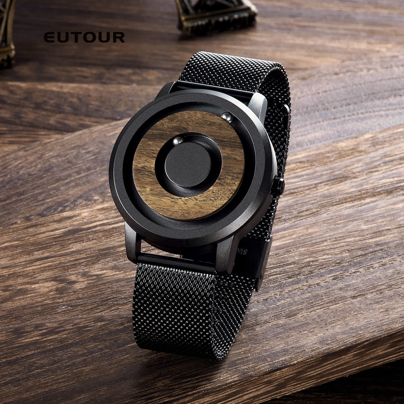 EUTOUR minimalist Novelty Wood Dial Scaleless Magnetic Watch Belt Natural Forest Fashion Mens Couple WatchEUTOUR minimalist Novelty Wood Dial Scaleless Magnetic Watch Belt Natural Forest Fashion Mens Couple Watch