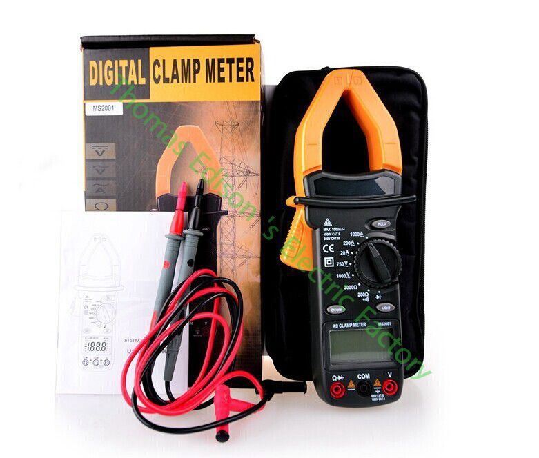 High quality Hot Digital Clamp Meter Multimeter AC DC Current Volt Tester Ms2001 high quality mastech ms2006b digital clamp meters ac current tester ac leakage clamp meter 0 001ma resolution