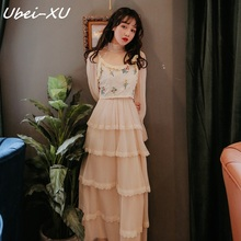 Ubei Fashion women two piece dress set vintage lace mesh cake fairy minority dress+vest