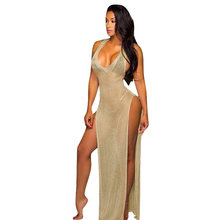 Sexy Women Sheer Long Maxi Dress Thigh High Split Backless Sleeveless  Summer Beach Dress Clubwear Party See Through Cami Dress 41233b85f0be